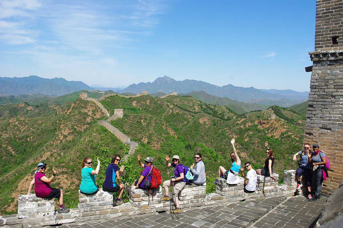 People sat on the Great Wall of China